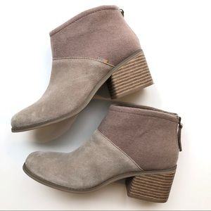 NWOT Toms Lacy Desert Taupe Suede Ankle Boots
